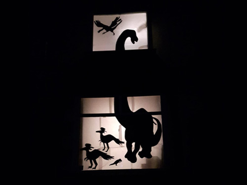 Window display of dinosaur
